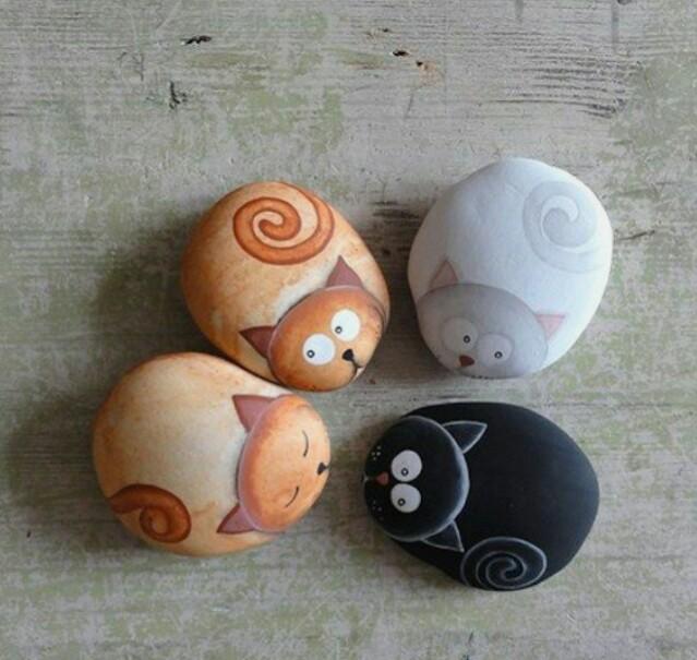 gatos piedras